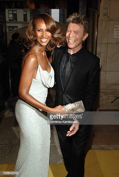 Iman and David Bowie during 2005 CFDA Fashion Awards Inside Arrivals at New York Public Library in New York City New York United States