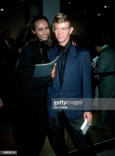 Iman and David Bowie during Eduard Nakhamkin Fine Arts Gallery Benefiting The American Cancer Society November 27 1990 at Eduard Nakhamkin Fine Arts...