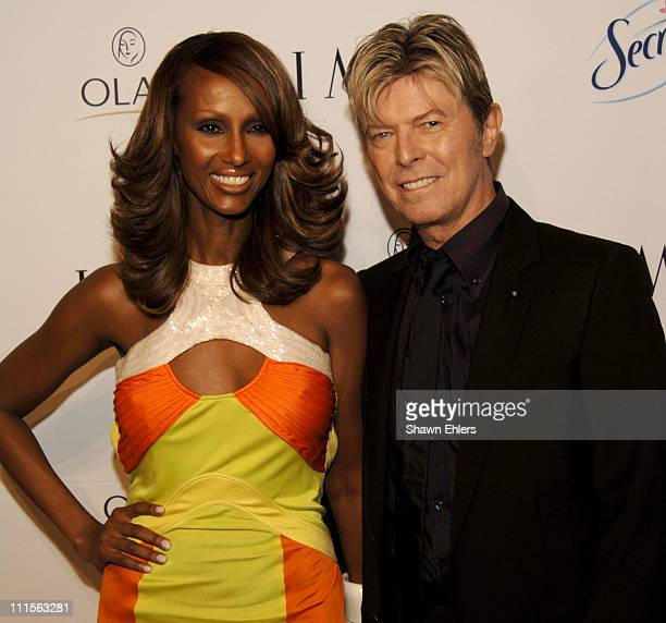 Iman and David Bowie during Naomi Campbell Hosts Fete for Iman at Cipriani at 23rd St in New York