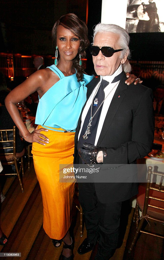 Iman and fashion designer Karl Lagerfeld attend the Gordon Parks Foundation awards dinner and auction at Gotham Hall on June 1 2011 in New York City
