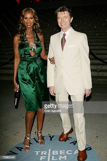 Iman and husband David Bowie arrive for the Vanity Fair 2007 Tribeca Film Festival party at The State Supreme Courthouse April 24 2007 in New York...