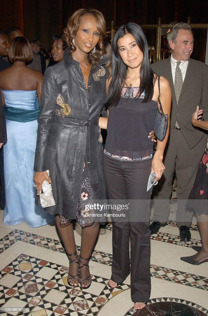 Iman and Lisa Ling during New Yorkers For Children 2003 Fall Gala at Cipriani 42nd Street in New York City New York United States