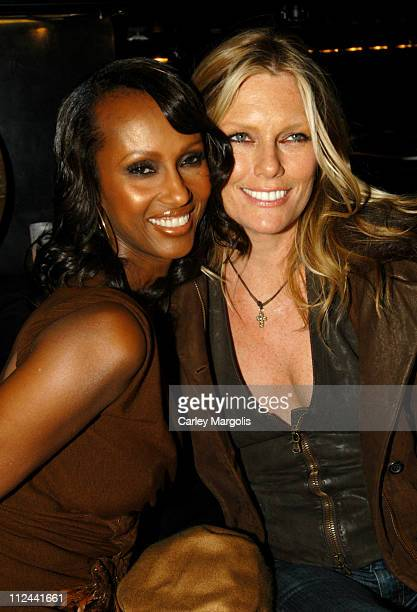 Iman and Patti Hansen during Donna Karan Celebrates the First Twenty Years with the Launch of 'The Journey of a Woman 20 Years of Donna Karan' at...