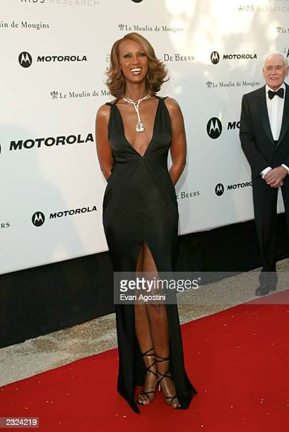 Iman arriving at amfAr's Cinema against AIDS 2002 benefit gala at Le Moulin de Mougins during the 55th Cannes Film Festival in Cannes France May 23...