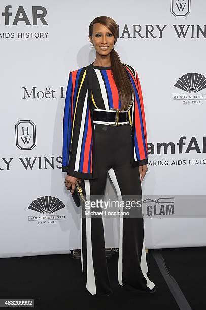 Iman attends the 2015 amfAR New York Gala at Cipriani Wall Street on February 11 2015 in New York City