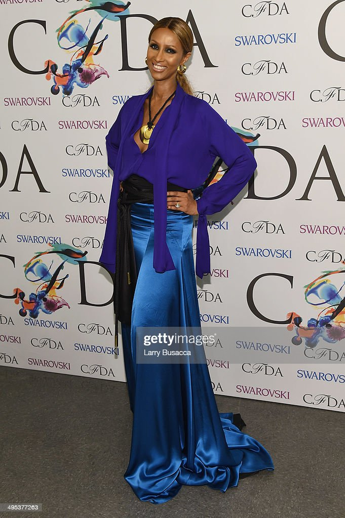 Iman attends the winners walk during the 2014 CFDA fashion awards at Alice Tully Hall Lincoln Center on June 2 2014 in New York City