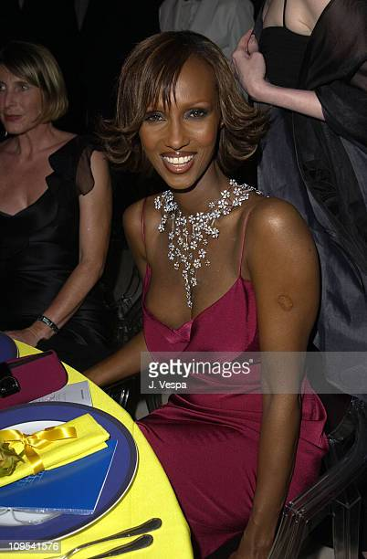 Iman during 2003 Cannes Film Festival Cinema Against AIDS 2003 to benefit amfAR sponsored by Miramax Dinner at Le Moulin du Mougin in Cannes France