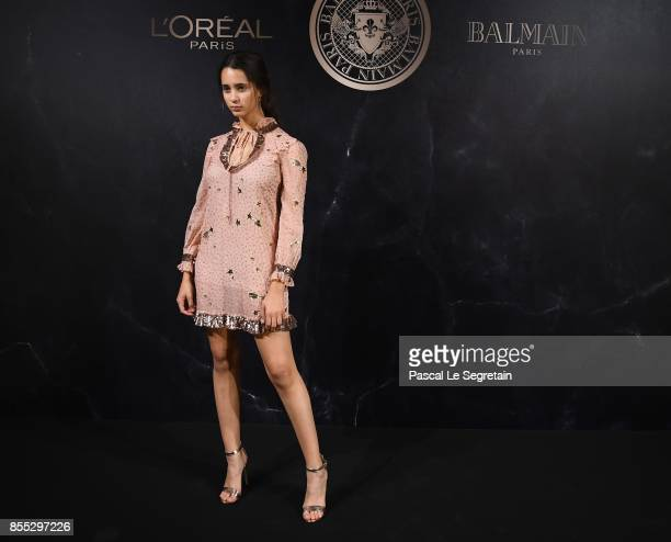 Iman Perez attends the L'Oreal Paris X Balmain event as part of the Paris Fashion Week Womenswear Spring/Summer 2018 on September 28 2017 in Paris...