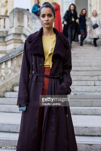 Iman Perez is seen after the Chloe show during Paris Fashion Week Womenswear Fall/Winter 2017/2018 on March 2 2017 in Paris France