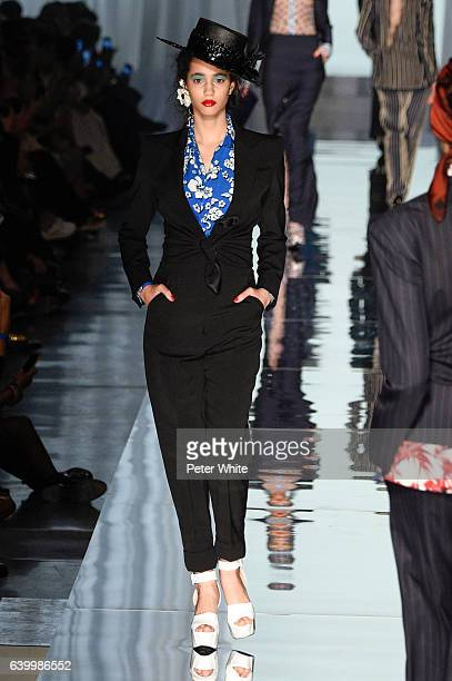 Iman Perez walks the runway during the Jean Paul Gaultier Spring Summer 2017 show as part of Paris Fashion Week on January 25 2017 in Paris France