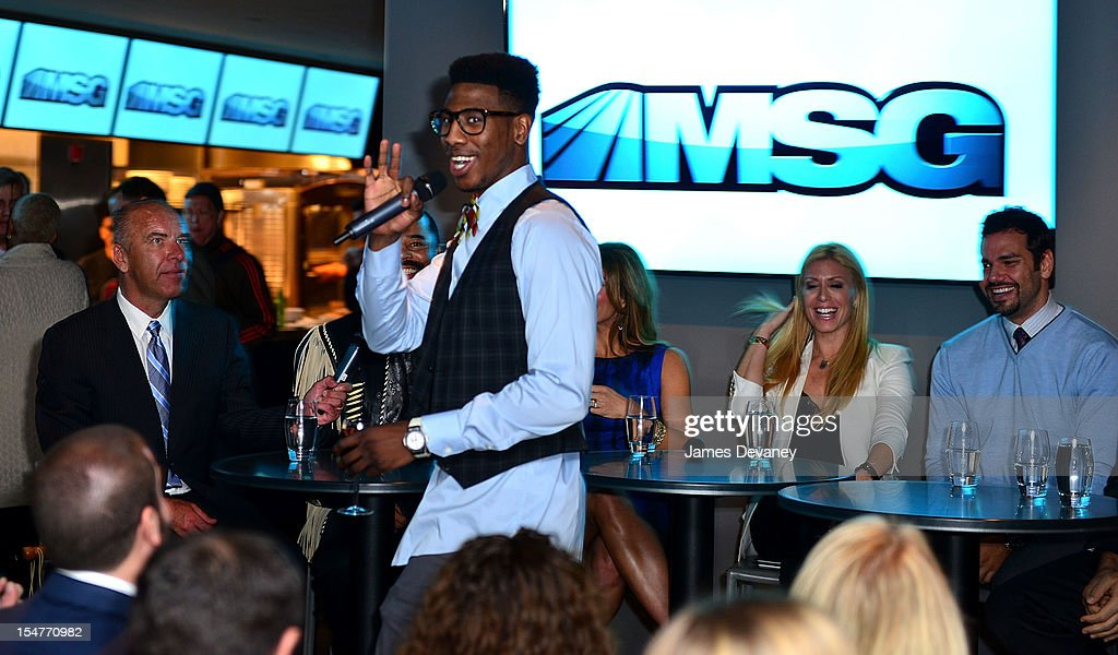 <a gi-track='captionPersonalityLinkClicked' href=/galleries/search?phrase=Iman+Shumpert&family=editorial&specificpeople=5042486 ng-click='$event.stopPropagation()'>Iman Shumpert</a> and Jill Martin attend MSG Network's 'Knicks Season Roundtable' at Clyde Frazier's Wine and Dine on October 25, 2012 in New York City.