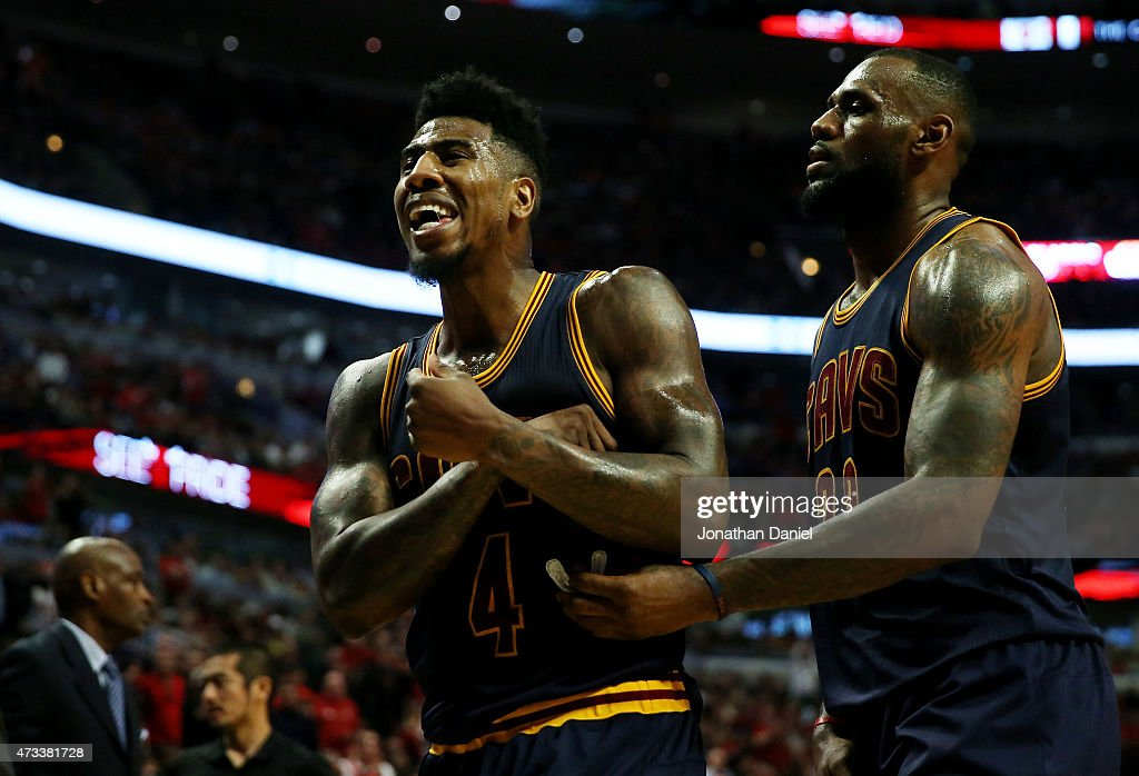 Iman Shumpert #4 and LeBron James #23 of the Cleveland Cavaliers react in the second quarter against the Chicago Bulls during Game Six of the Eastern Conference Semifinals of the 2015 NBA Playoffs at United Center on May 14, 2015 in Chicago, Illinois.