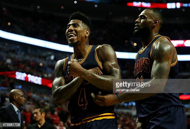 Iman Shumpert and LeBron James of the Cleveland Cavaliers react in the second quarter against the Chicago Bulls during Game Six of the Eastern...