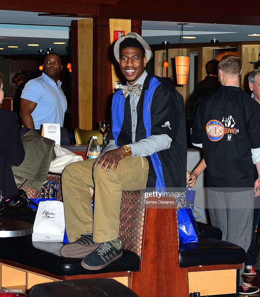 <a gi-track='captionPersonalityLinkClicked' href=/galleries/search?phrase=Iman+Shumpert&family=editorial&specificpeople=5042486 ng-click='$event.stopPropagation()'>Iman Shumpert</a> attends the 14th Annual Knicks Bowl at Chelsea Piers on February 11, 2013 in New York City.