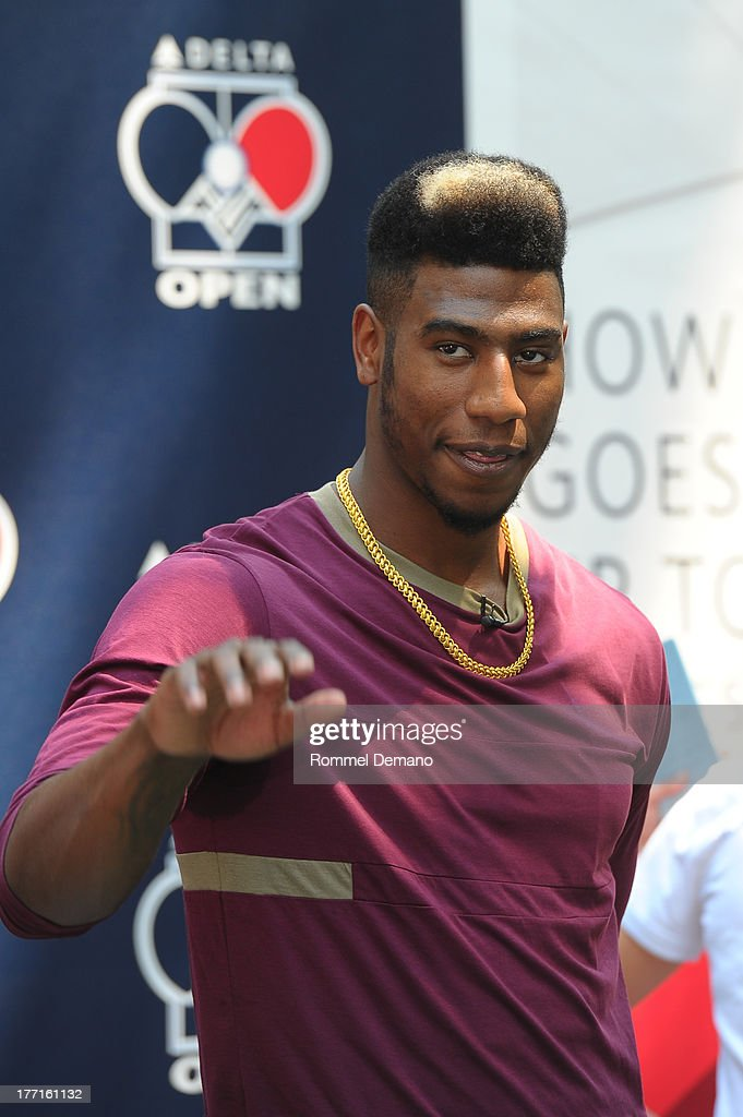 <a gi-track='captionPersonalityLinkClicked' href=/galleries/search?phrase=Iman+Shumpert&family=editorial&specificpeople=5042486 ng-click='$event.stopPropagation()'>Iman Shumpert</a> attends the Delta Open Table Tennis Tournament at Madison Square Park on August 21, 2013 in New York City.