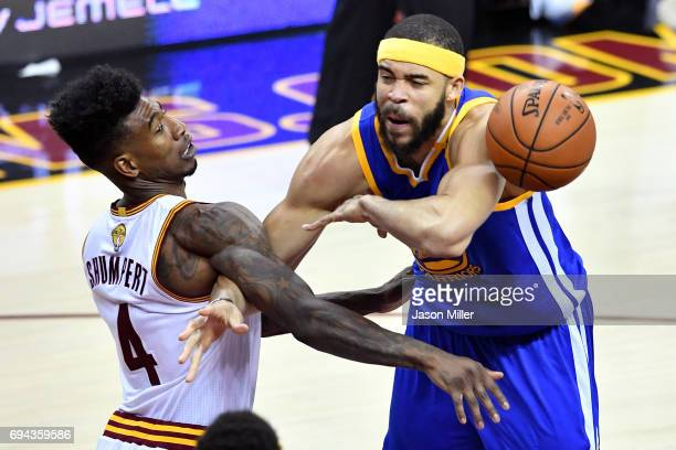 Iman Shumpert of the Cleveland Cavaliers and JaVale McGee of the Golden State Warriors compete for the ball in the fourth quarter in Game 4 of the...