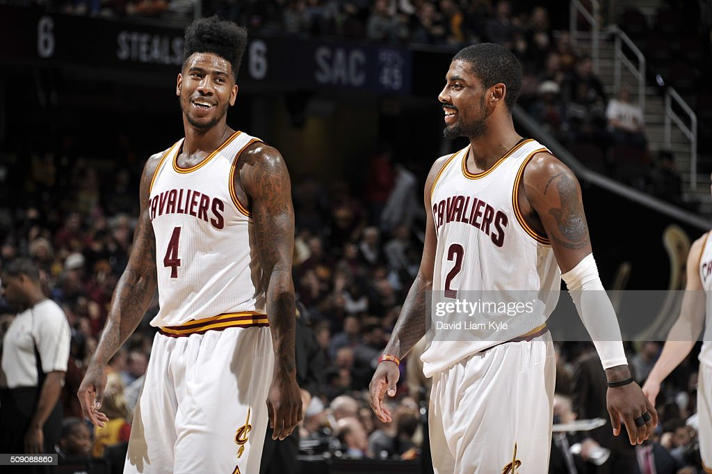 <a gi-track='captionPersonalityLinkClicked' href=/galleries/search?phrase=Iman+Shumpert&family=editorial&specificpeople=5042486 ng-click='$event.stopPropagation()'>Iman Shumpert</a> #4 of the Cleveland Cavaliers and <a gi-track='captionPersonalityLinkClicked' href=/galleries/search?phrase=Kyrie+Irving&family=editorial&specificpeople=6893971 ng-click='$event.stopPropagation()'>Kyrie Irving</a> #2 of the Cleveland Cavaliers during the game against the Sacramento Kings on February 8, 2016 at Quicken Loans Arena in Cleveland, Ohio.