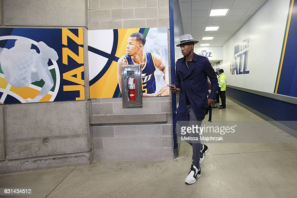 Iman Shumpert of the Cleveland Cavaliers arrives before the game against the Utah Jazz on January 10 2017 at vivintSmartHome Arena in Salt Lake City...