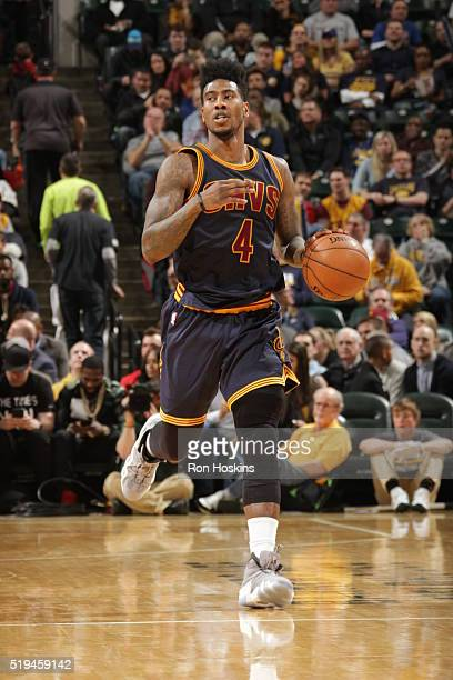 Iman Shumpert of the Cleveland Cavaliers brings the ball up court against the Indiana Pacers on April 6 2016 at Bankers Life Fieldhouse in...