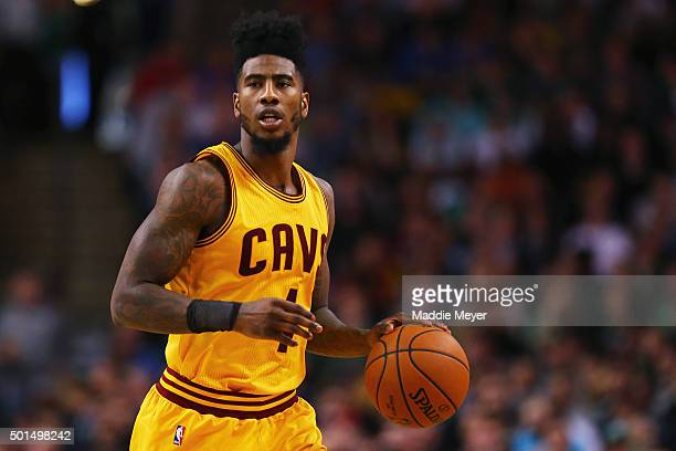 Iman Shumpert of the Cleveland Cavaliers drives against the Boston Celtics during the second quarter at TD Garden on December 15 2015 in Boston...