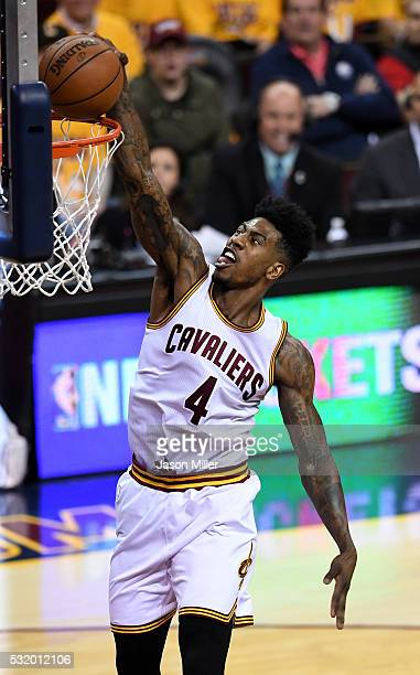 Iman Shumpert of the Cleveland Cavaliers dunks in the first quater against the Toronto Raptors in game one of the Eastern Conference Finals during...