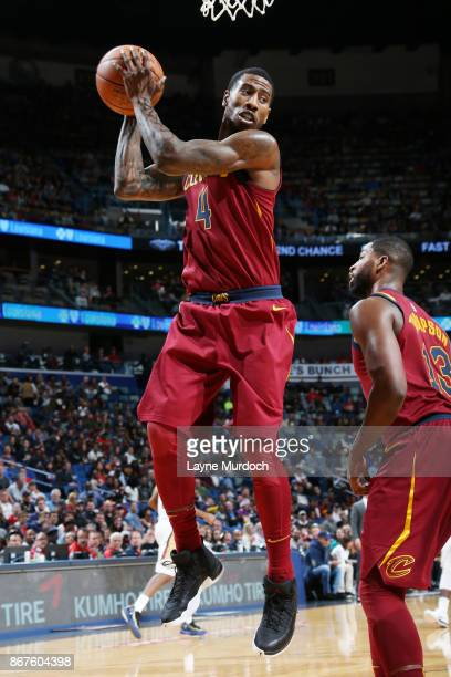 Iman Shumpert of the Cleveland Cavaliers grabs the rebound against the New Orleans Pelicans on October 28 2017 at the Smoothie King Center in New...