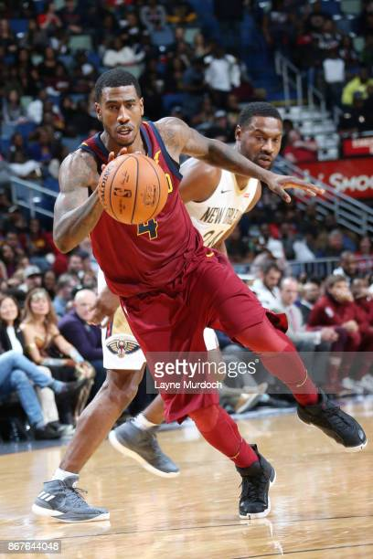 Iman Shumpert of the Cleveland Cavaliers handles the ball against the New Orleans Pelicans on October 28 2017 at the Smoothie King Center in New...