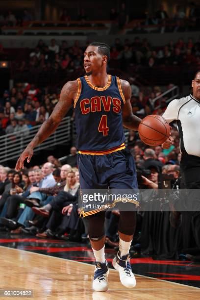 Iman Shumpert of the Cleveland Cavaliers handles the ball during a game against the Chicago Bulls on March 30 2017 at the United Center in Chicago...