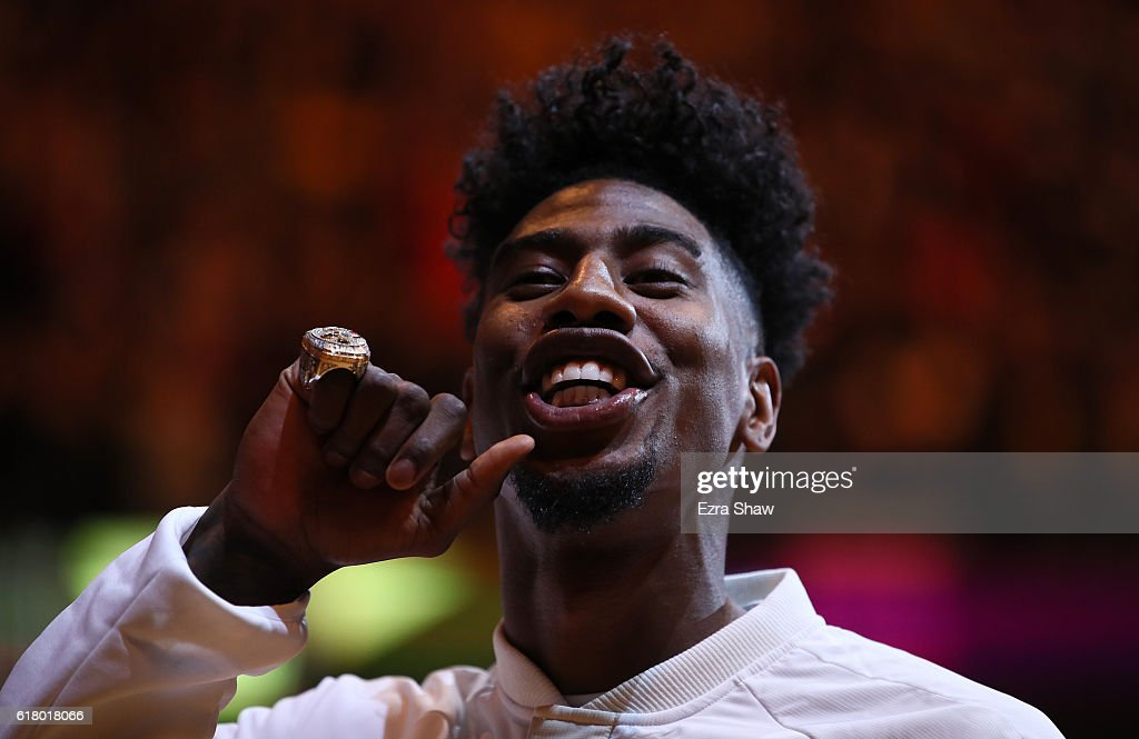 Iman Shumpert #4 of the Cleveland Cavaliers shows his championship ring before the game against the New York Knicks at Quicken Loans Arena on October 25, 2016 in Cleveland, Ohio.