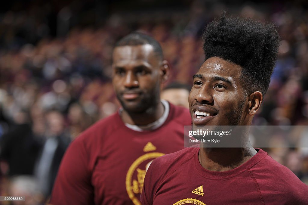 <a gi-track='captionPersonalityLinkClicked' href=/galleries/search?phrase=Iman+Shumpert&family=editorial&specificpeople=5042486 ng-click='$event.stopPropagation()'>Iman Shumpert</a> #4 of the Cleveland Cavaliers warms up before the game against the Sacramento Kings on February 8, 2016 at Quicken Loans Arena in Cleveland, Ohio.