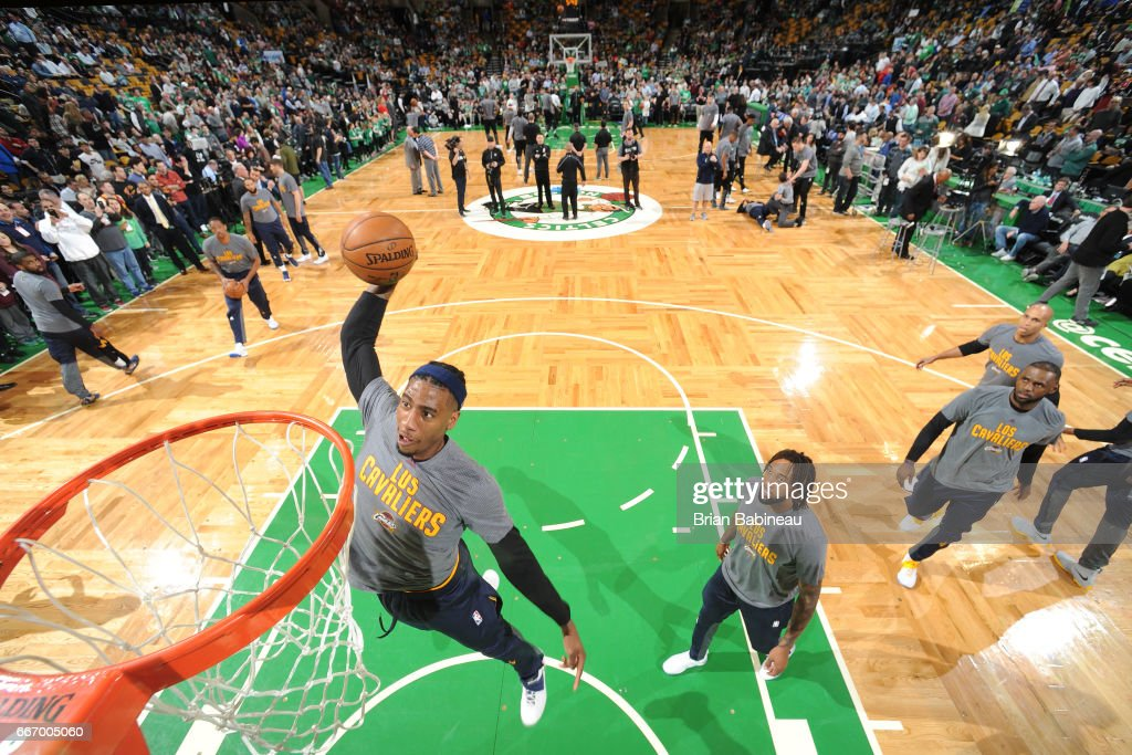 Iman Shumpert #4 of the Cleveland Cavaliers warms up before the game against the Boston Celtics on March 1, 2017 at the TD Garden in Boston, Massachusetts.