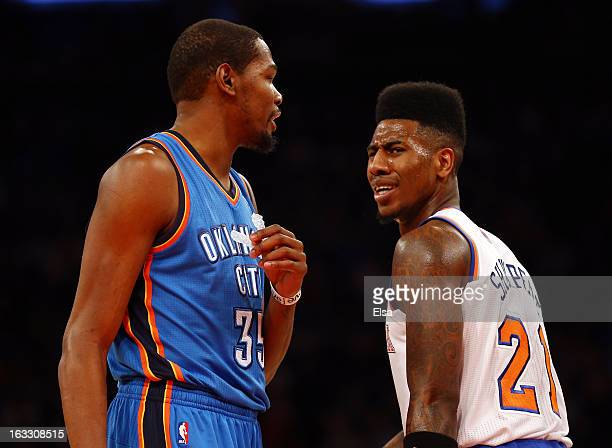 Iman Shumpert of the New York Knicks and Kevin Durant of the Oklahoma City Thunder exchange words after Shumpert is called for fouling Durant on...