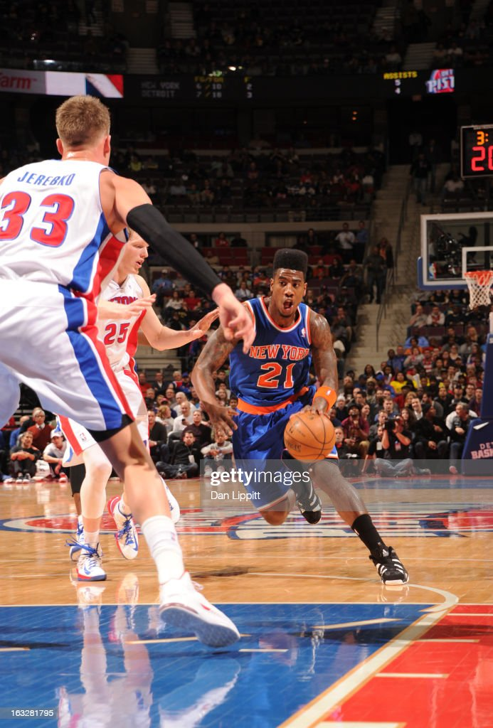 Iman Shumpert #21 of the New York Knicks drives during the game between the Detroit Pistons and the Atlanta Hawks on March 6, 2013 at The Palace of Auburn Hills in Auburn Hills, Michigan.