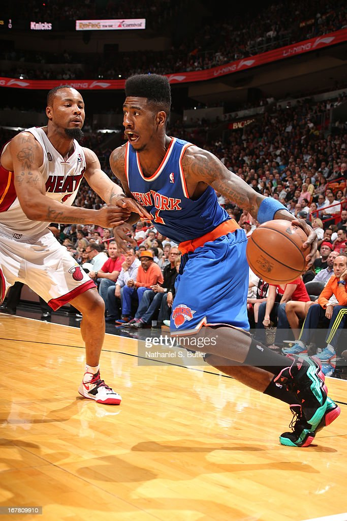 Iman Shumpert #21 of the New York Knicks drives to the basket against the Miami Heat on April 2, 2013 at American Airlines Arena in Miami, Florida.
