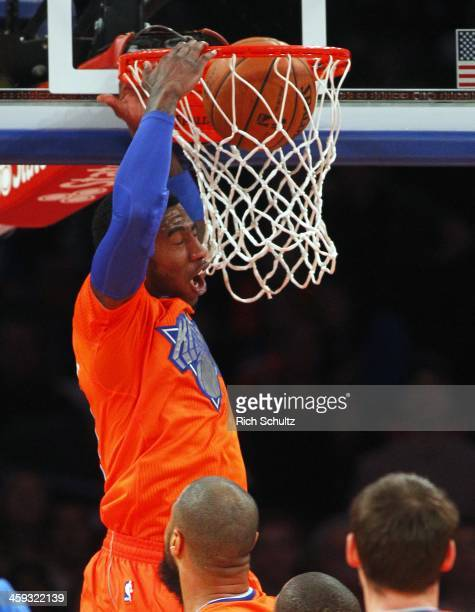 Iman Shumpert of the New York Knicks dunks against the Oklahoma City Thunder in the second quarter during an NBA basketball game at Madison Square...