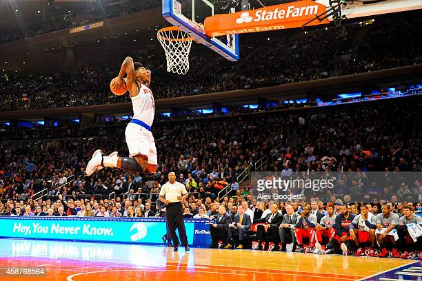 Iman Shumpert of the New York Knicks dunks the ball during a game against the Atlanta Hawks at Madison Square Garden on November 10 2014 in New York...