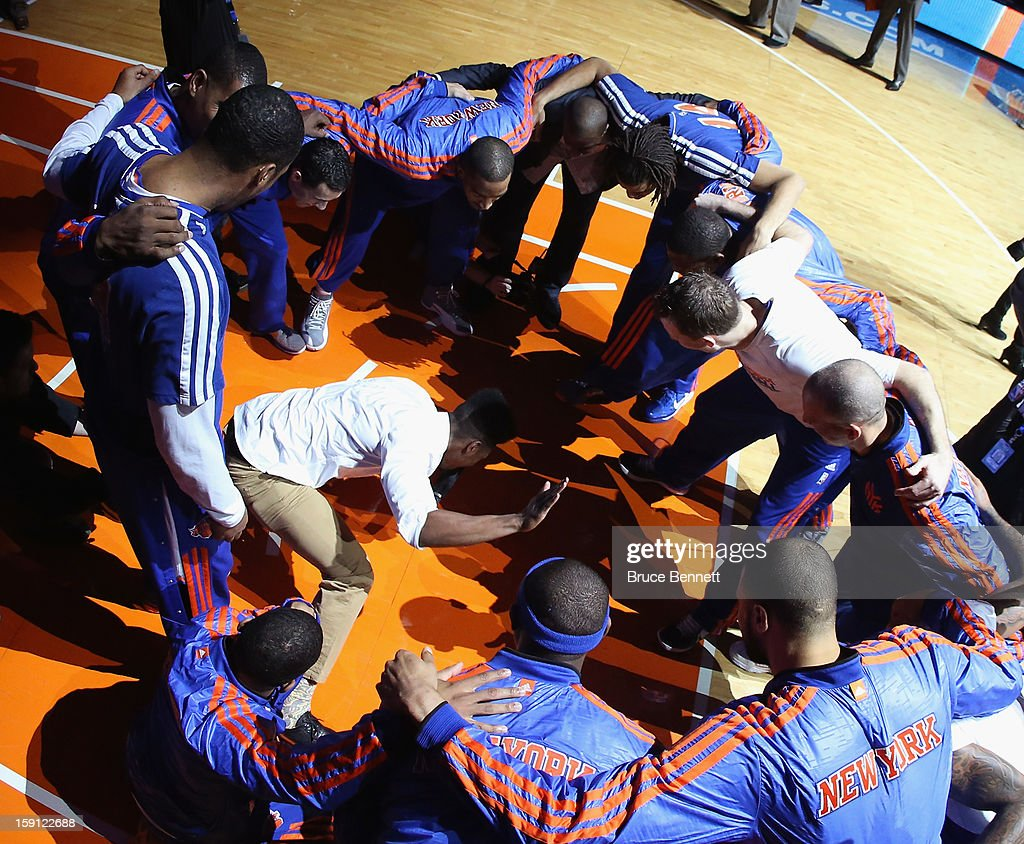 Iman Shumpert #21 of the New York Knicks gets in the middle of the circle during the pregame introuctions prior to the game against the Boston Celtics at Madison Square Garden on January 7, 2013 in New York City.