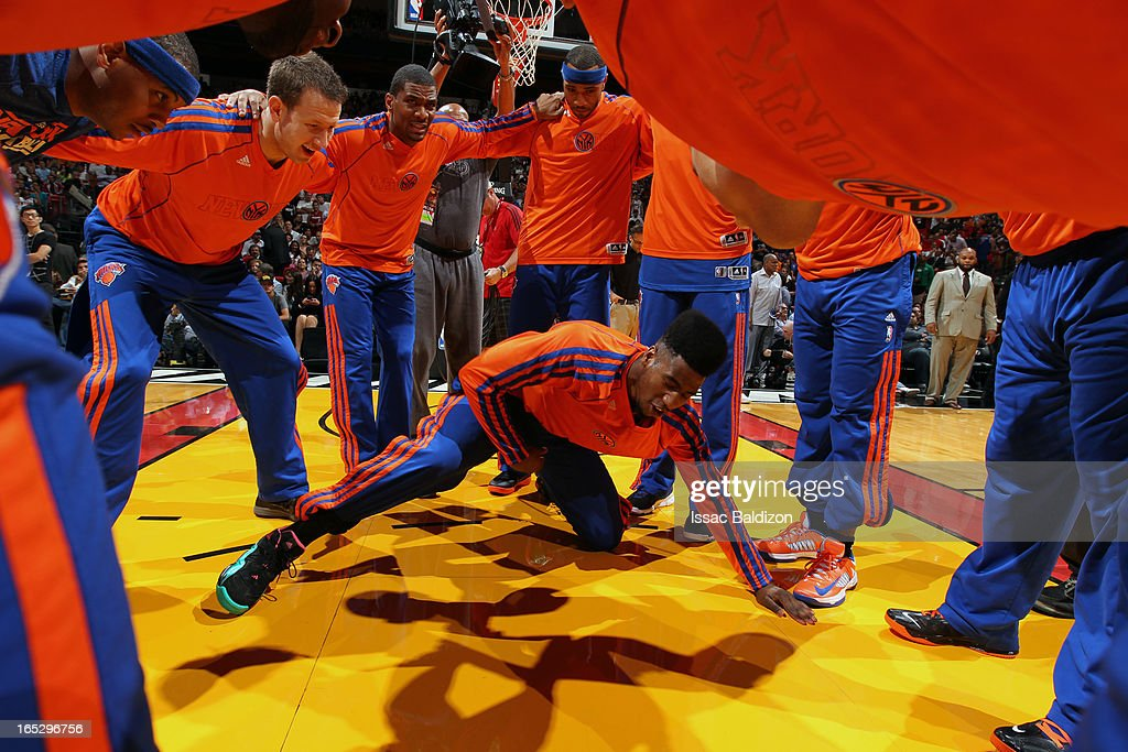 Iman Shumpert #21 of the New York Knicks gets the team pumped up against the Miami Heat during a game on April 2, 2013 at American Airlines Arena in Miami, Florida.