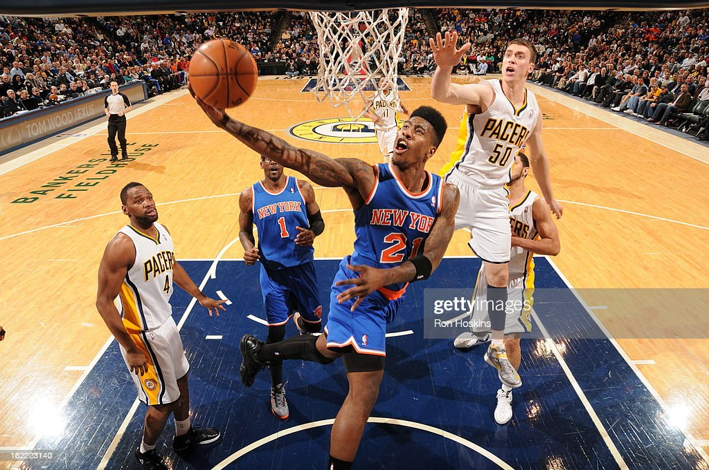 Iman Shumpert #21 of the New York Knicks goes to the basket during the game between the Indiana Pacers and the New York Knicks on February 20, 2013 at Bankers Life Fieldhouse in Indianapolis, Indiana.
