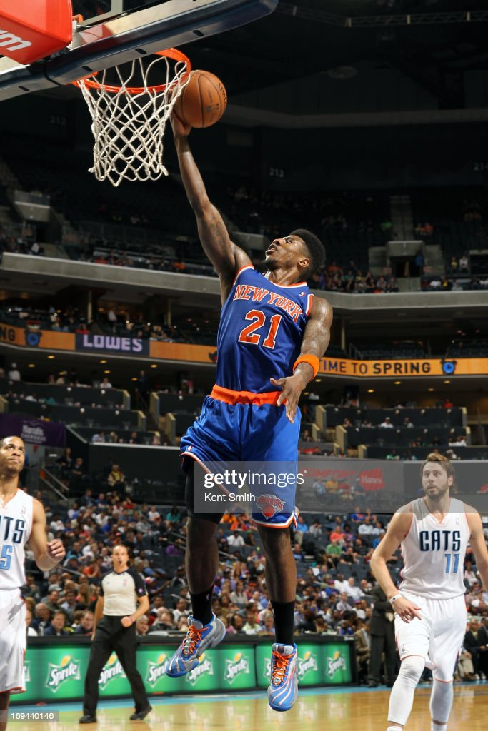 Iman Shumpert #21 of the New York Knicks goes up for the layup against the Charlotte Bobcats at the Time Warner Cable Arena on April 15, 2013 in Charlotte, North Carolina.