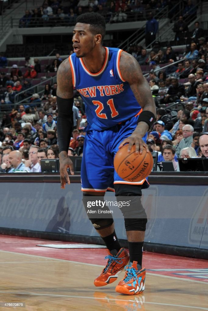<a gi-track='captionPersonalityLinkClicked' href=/galleries/search?phrase=Iman+Shumpert&family=editorial&specificpeople=5042486 ng-click='$event.stopPropagation()'>Iman Shumpert</a> #21 of the New York Knicks handles the ball during a game against the Detroit Pistons on March 3, 2014 at The Palace of Auburn Hills in Auburn Hills, Michigan.