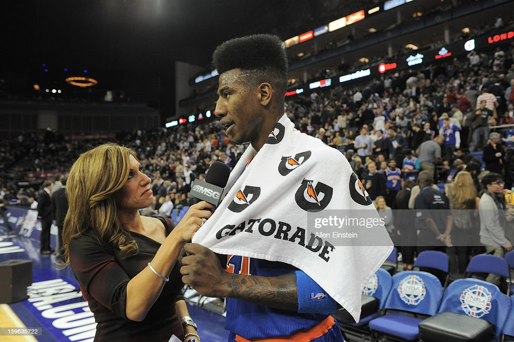 Iman Shumpert #21 of the New York Knicks interviewed by MSG Network reporter Tina Cervasio at half time during a game at the 02 Arena on January 17, 2013 in London, England.