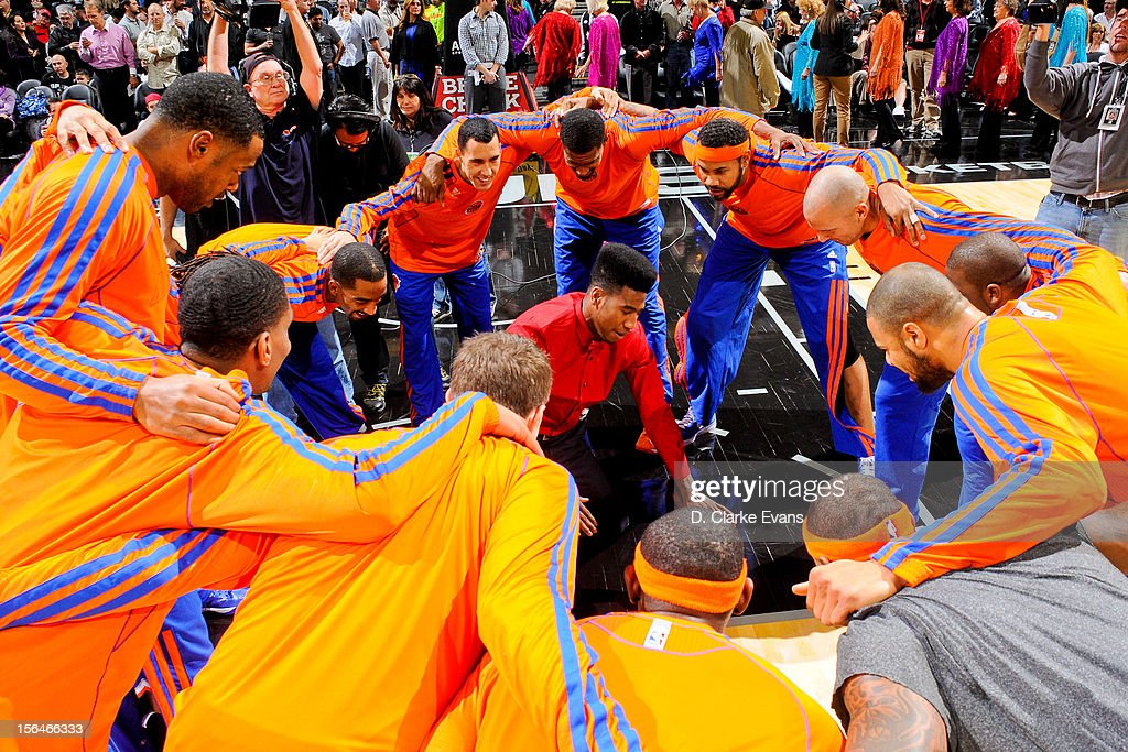 Iman Shumpert #21 of the New York Knicks leads his team in a huddle before a game against the San Antonio Spurs on November 15, 2012 at the AT&T Center in San Antonio, Texas.