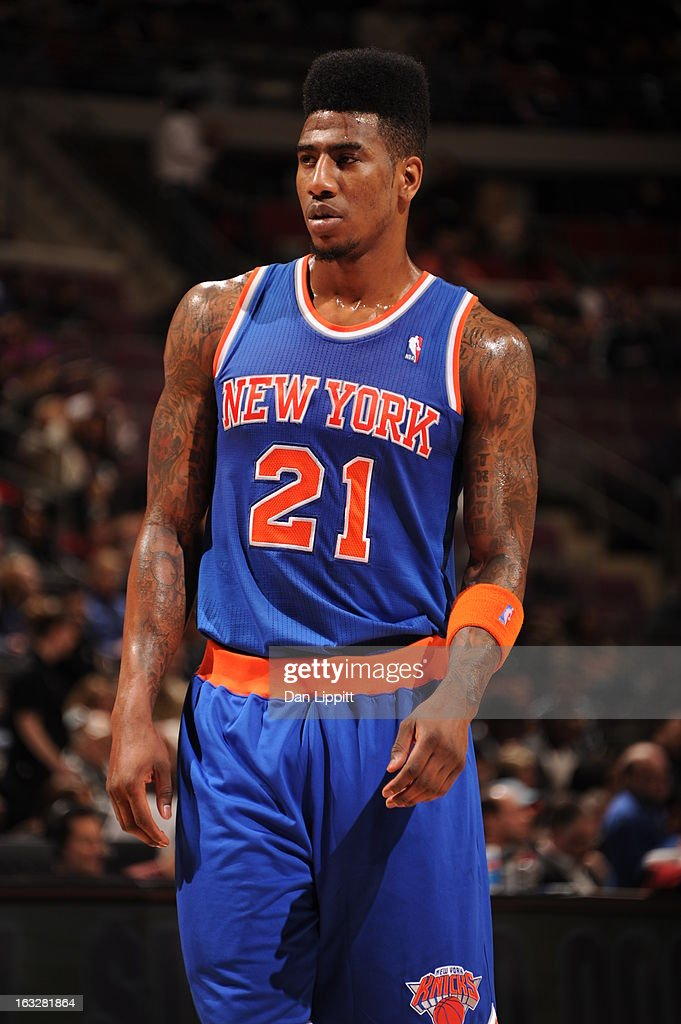Iman Shumpert #21 of the New York Knicks looks on during the game between the Detroit Pistons and the Atlanta Hawks on March 6, 2013 at The Palace of Auburn Hills in Auburn Hills, Michigan.