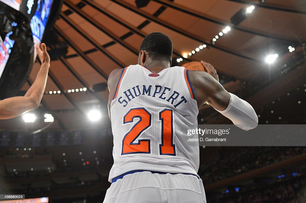 <a gi-track='captionPersonalityLinkClicked' href=/galleries/search?phrase=Iman+Shumpert&family=editorial&specificpeople=5042486 ng-click='$event.stopPropagation()'>Iman Shumpert</a> #21 of the New York Knicks looks to pass the ball inbounds against the Charlotte Bobcats during the game on November 5, 2013 at Madison Square Garden in New York City, New York.