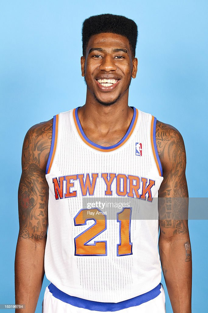 Iman Shumpert #21 of the New York Knicks poses for a photo during the New York Knicks Media Day on October 1, 2012 at the Madison Square Garden Training Center in Tarrytown, New York.