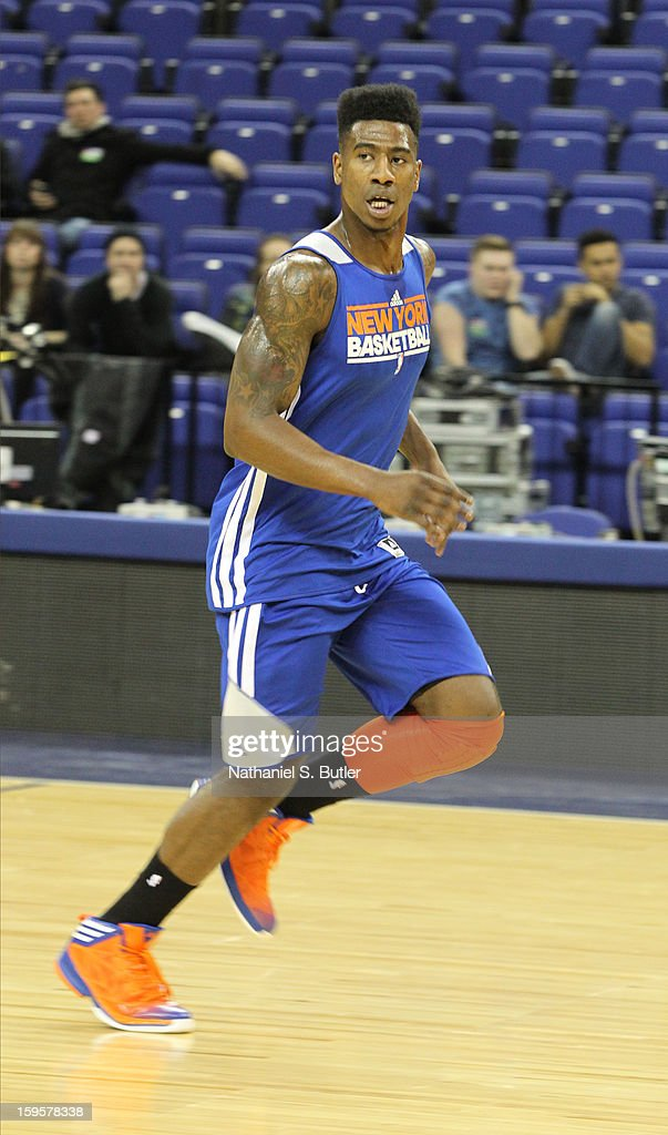 Iman Shumpert #21 of the New York Knicks running a team drill during practice at the O2 Arena on January 16, 2013 in London, England.