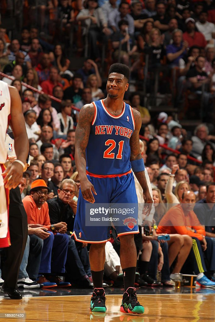 Iman Shumpert #21 of the New York Knicks walks up the floor against the Miami Heat during a game on April 2, 2013 at American Airlines Arena in Miami, Florida.