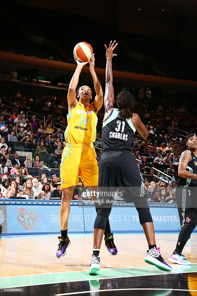 Imani Boyette #34 of the Chicago Sky shoots the ball against the New York Liberty on June 24, 2016 at Madison Square Garden in New York, New York.