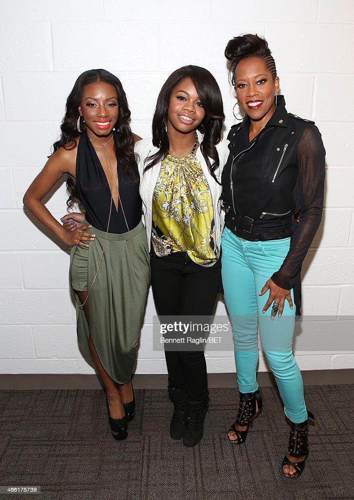 Imani Hakim, Gabby Douglas, and Regina King visit 106 & Park at BET studio on January 30, 2014 in New York City.